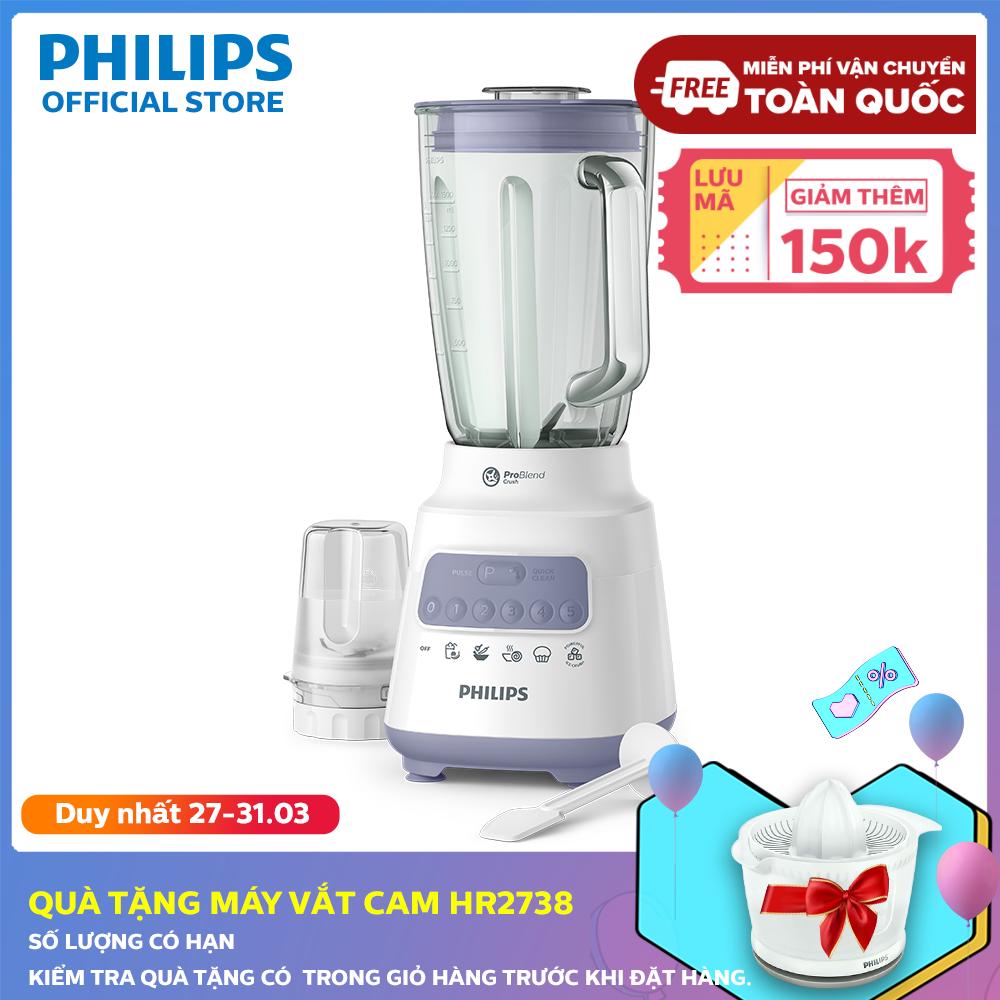 [Giá cuối: 899k - Voucher 150k] Máy xay sinh tố Philips HR2222/00 (Trắng) - Hàng phân phối chính hãng - Cối xay thủy tinh [Qùa Giao Sau 14 Ngày]
