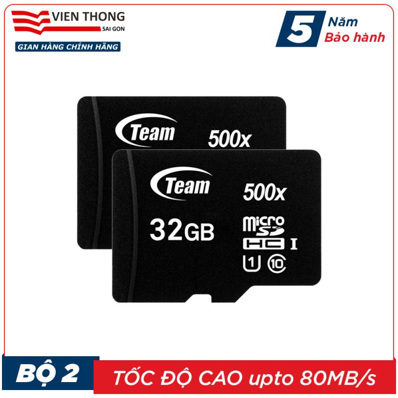 Bộ 2 Thẻ nhớ 32GB micro SDHC Team 500x upto 80MB/s class 10 (Đen) - Hãng phân phối chính thức