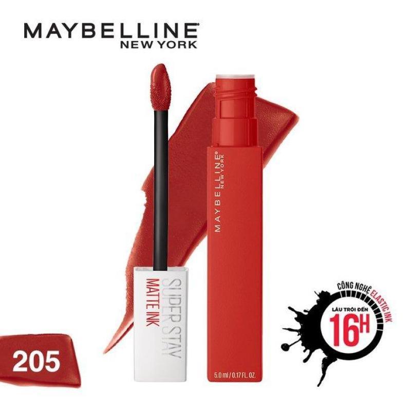 Son kem lì Maybelline màu đỏ cam 205 Assertive Super Stay Matte Ink cao cấp