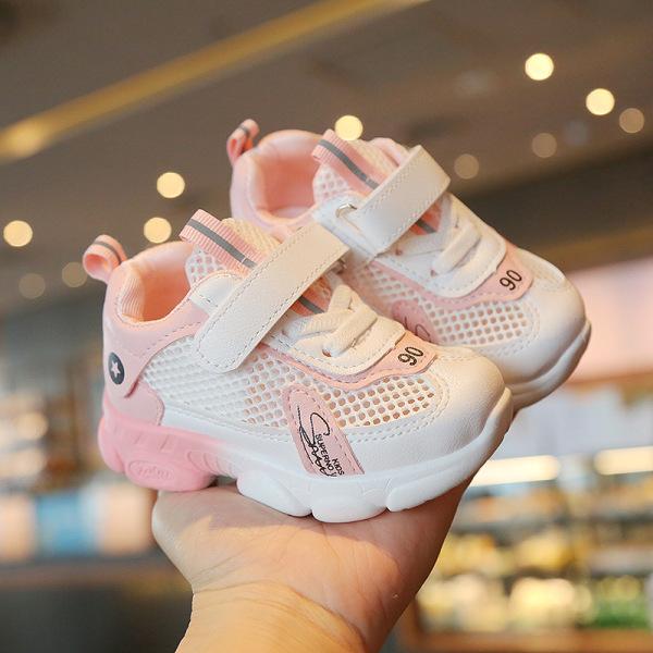 Giá bán Giày bé gái màu hồng cao cấp, siêu nhẹ thoáng khí chống trơn trượt tốt dành cho bé 1-7 tuổi