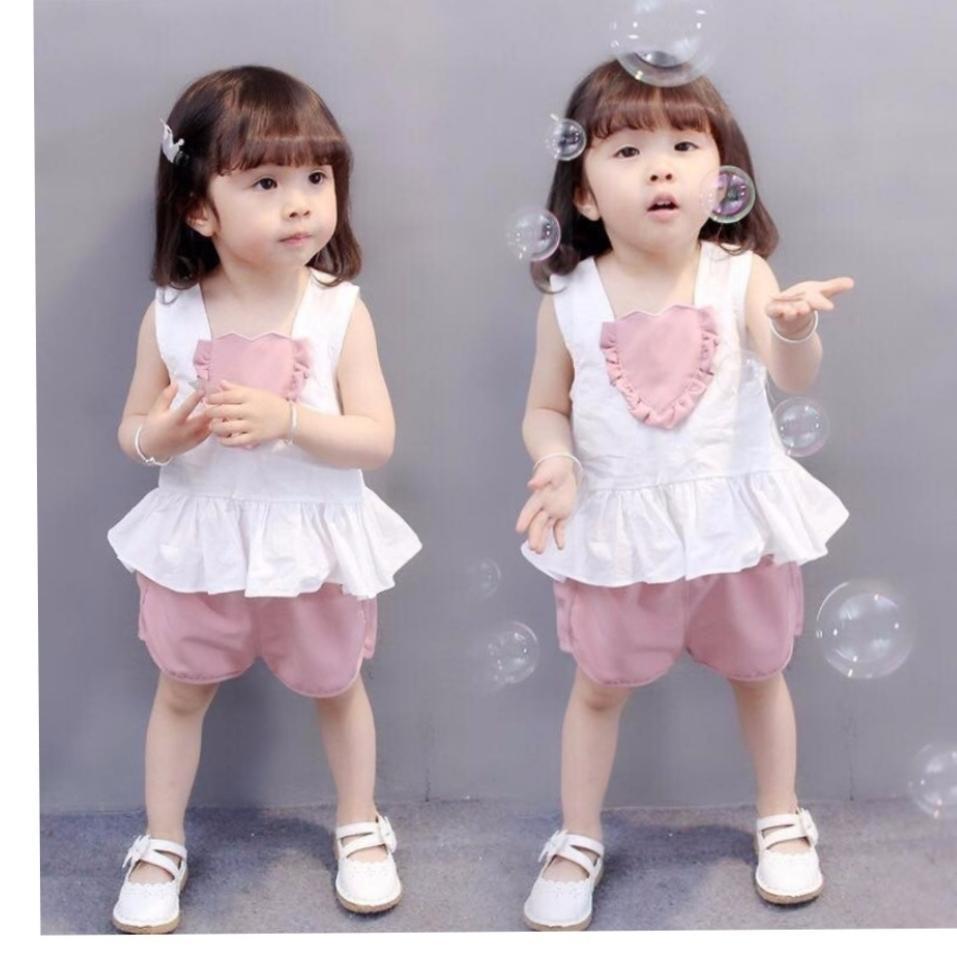 Đồ bộ cho bé gái cổ trái tim Nhật Bản