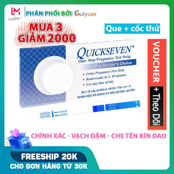 Que thử thai Quickseven cho kết quả nhanh và cực chính xác, đạt tiêu chuẩn xuất khẩu - Hộp 1 que và cốc thử - Guty Care cao cấp