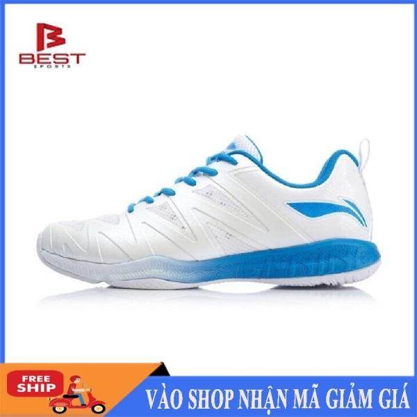 Giày cầu lông nam Lining AYTP023-2 mẫu mới êm ái thoáng khí, bảo hành 24 tháng dành cho nam màu trắng đủ size