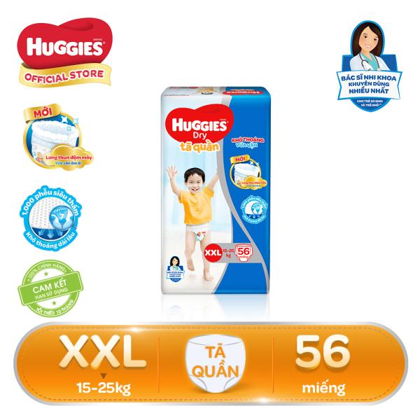 Tã/bỉm quần Huggies Super Jumbo XXL56 - Gói 56 miếng (Cho bé 15kg - 25kg)