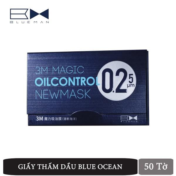 [Lấy mã giảm thêm 30%] Giấy Thấm Dầu Da Mặt Blue Ocean 3M BLUEMAN Chống Bã Nhờn Da 50 tờ/hộp nhập khẩu