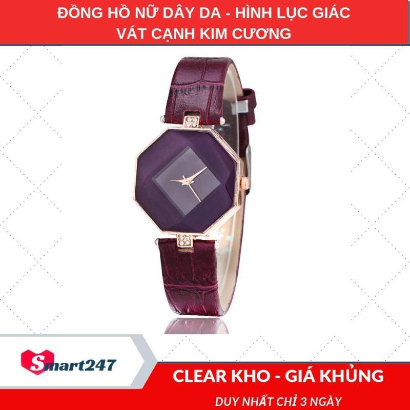 Nơi bán Đồng hồ nữ dây da hình lục giác vát cạnh kim cương CH200 (4 màu), Đồng hồ nữ đẹp, Đồng hồ nữ giá rẻ, Smart247, dongho247