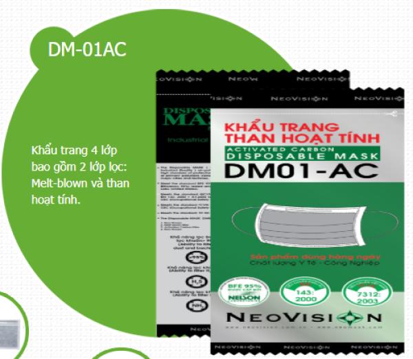 combo 50 cái Khẩu Trang  y tế Than Hoạt Tính DM01-AC Neovision