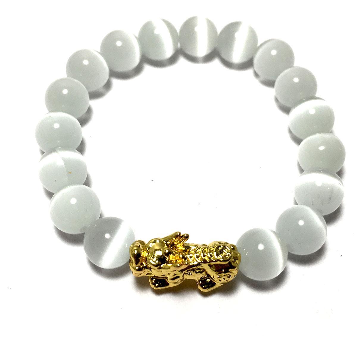Vòng tay phong thủy đá mắt mèo màu trắng kèm cham tì hiu bạc mạ vàng 24k cao cấp cho người mệnh kim - mệnh thủy - VPT33A- Bạc QTJ (TRẮNG)