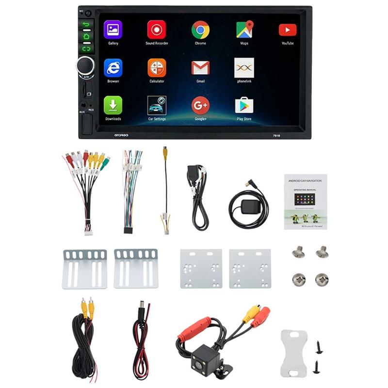 Android 8.1 Car Stereo GPS Navi MP5 Player Double 2Din WiFi 7 Inch Quad Core BT with 4LED Cam