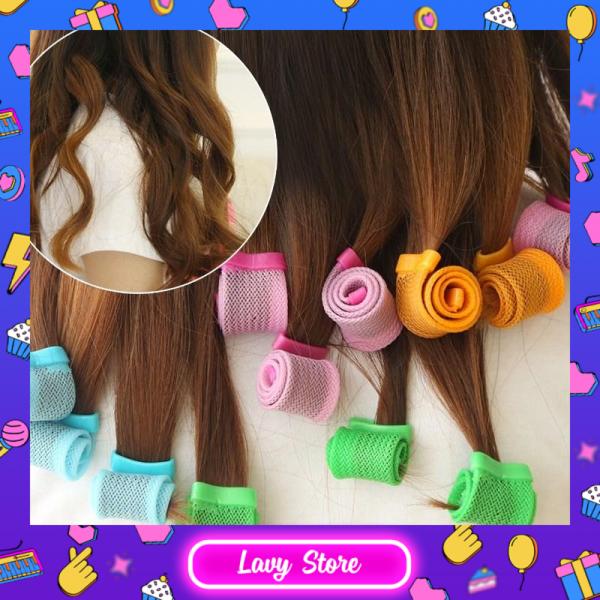 Bộ tạo kiểu tóc ốc sên 18 ống không dùng nhiệt - Lô cuốn tóc xoăn lọn đuôi đẹp, ống uốn tóc đuôi đẹp cho bạn gái - Lavy Store cao cấp