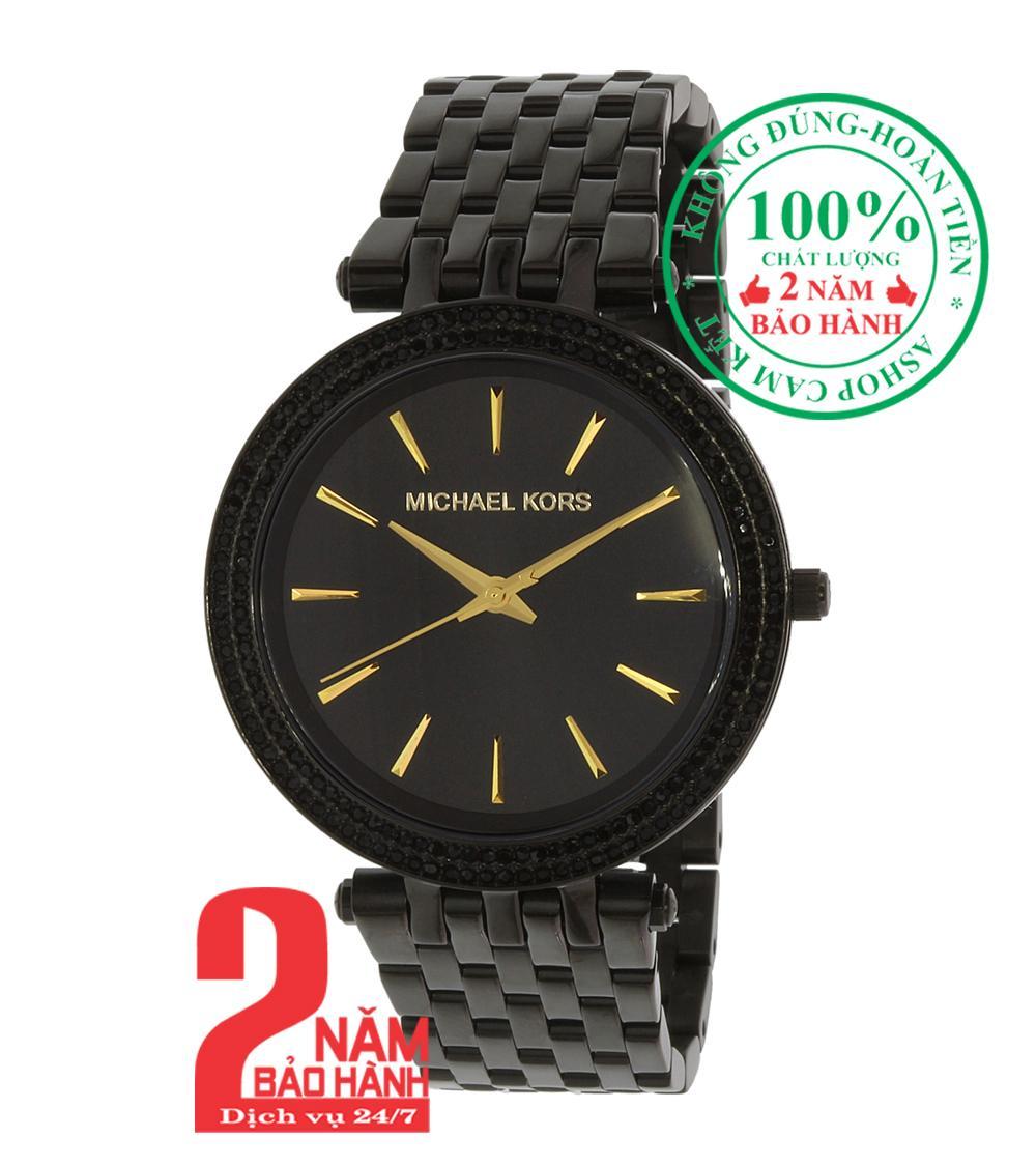 Nơi bán Đồng hồ nữ MK Darci MK3337, Vỏ, mặt và dây màu Đen (Black), viền đá pha lê Swarovski, size 39mm- MK3337