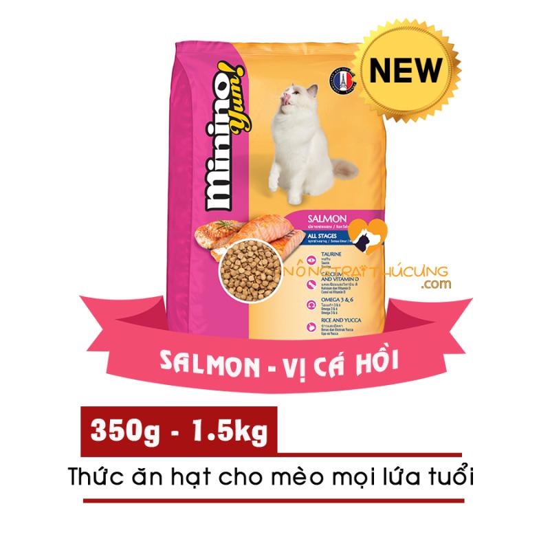 [HCM]Thức ăn hạt cho Mèo mọi lứa tuổi Minino Yum! gói 350g - Vị Hải Sản/ Cá Hồi - [Nông Trại Thú Cưng]