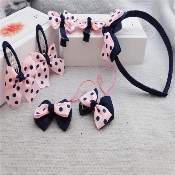 Set kẹp 7 món siêu dễ thương cho bé 1 băng đô + 2 cột tóc + 4 cái cặp tóc thiết kế kiểu dáng dễ thương cho con yêu