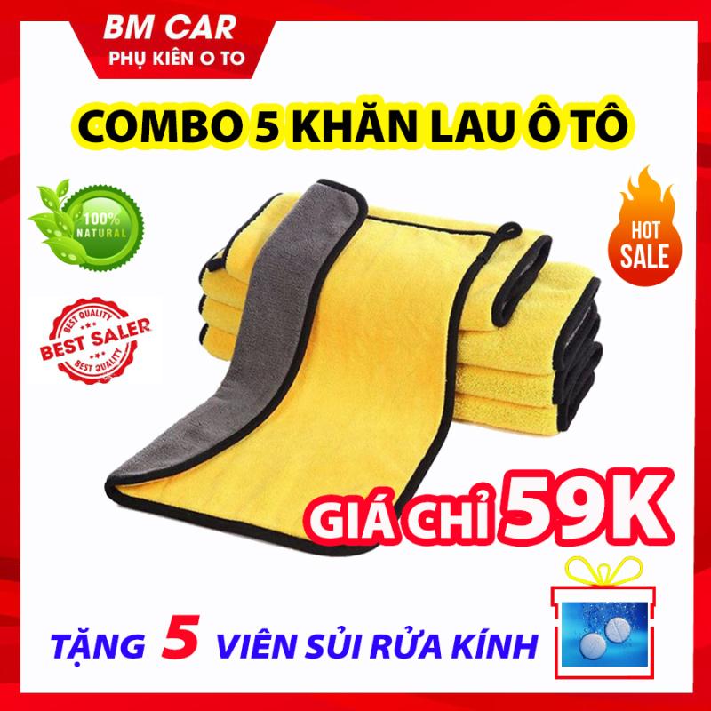 COMBO 5 Khăn Lau Xe Ô Tô Chuyên Dụng Microfiber, Siêu Thấm Hút, Giá Rẻ Bất Ngờ - TẶNG 5 viên sủi rửa kính ô tô