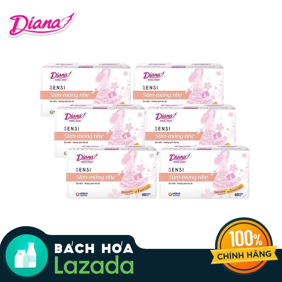 Bộ 6 gói Băng vệ sinh Diana hàng ngày SENSI Slim mỏng nhẹ Gói 40 miếng nhập khẩu