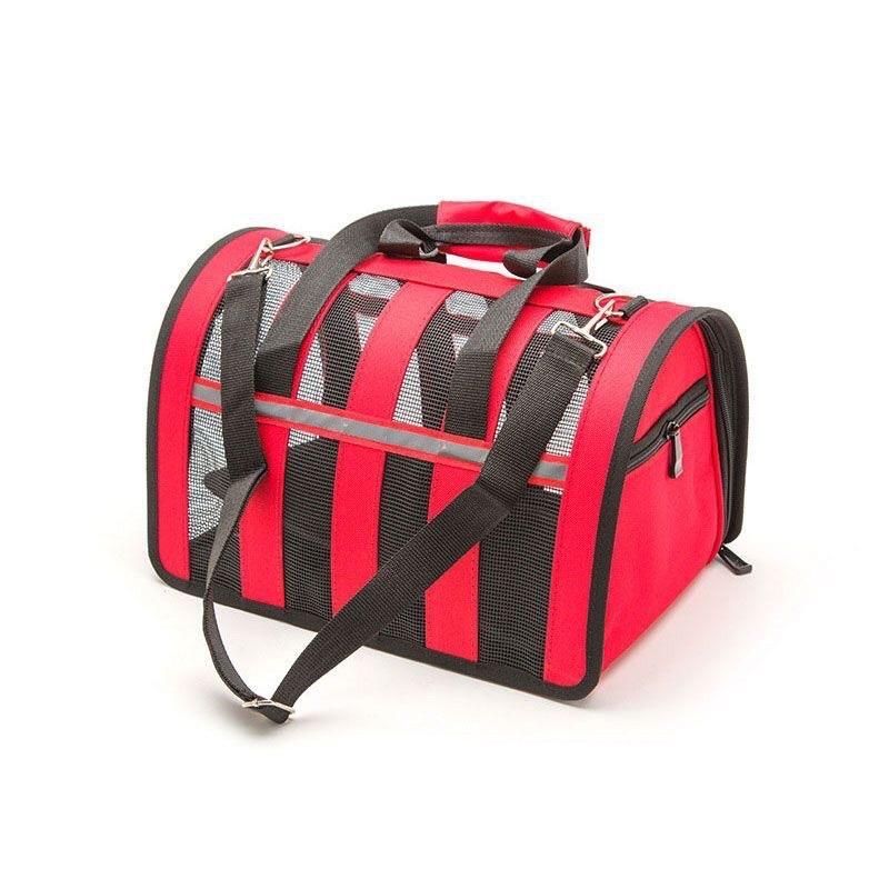 Túi vận chuyển chó mèo lưới vòm cao cấp - màu đỏ cỡ nhỏ
