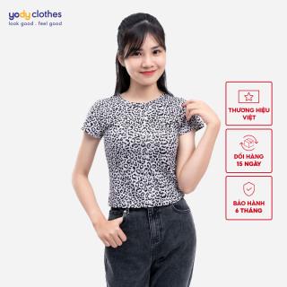 Áo thun nữ YODY họa tiết da báo chất cotton thoáng mát APN4050 thumbnail
