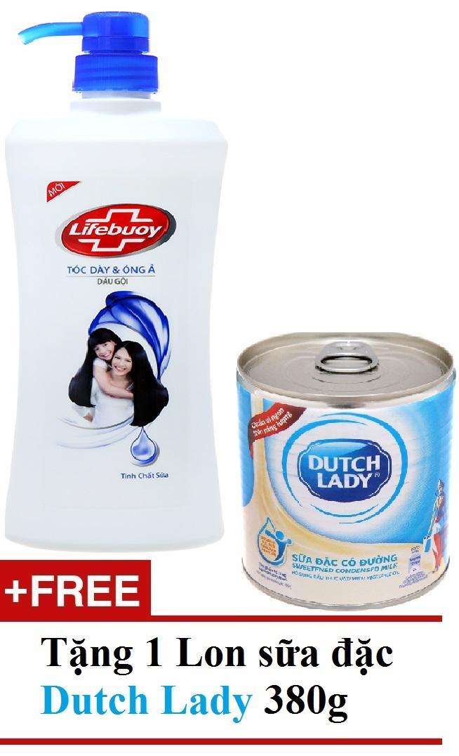 Dầu gội Lifebuoy tóc dày óng ả XANH 640g TẶNG 1 lon sữa đặc Cô Gái Hà Lan 380g giá rẻ