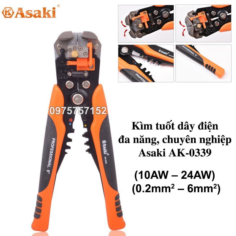 Kìm tuốt dây điện, bấm cos đa năng, tự động Asaki (10AW – 24AW) (0.2mm2 – 6mm2)