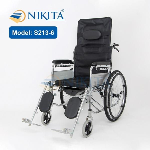 Xe lăn có bô vệ sinh, có thể ngã thành giường cho người già, người khuyết tật, người đang bị chấn thương S213-6D 2021 cao cấp