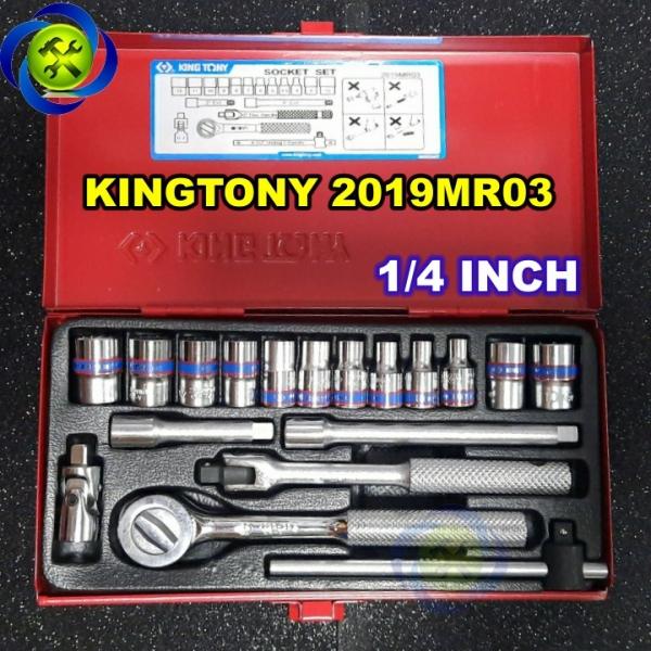 Bộ tuýp 1/4 Kingtony 2019MR03 18 chi tiết loại tuýp 12 cạnh