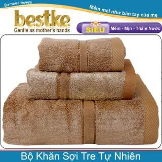 Bộ 3 khăn sợi tre tự nhiên bestke, bamboo towels màu nâu cafe, Trọng lượng 540g thumbnail