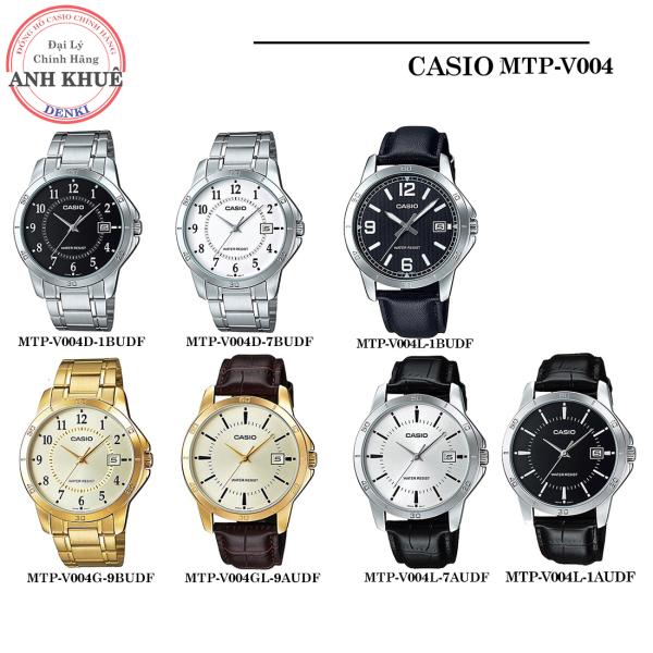 Đồng hồ nam Casio chính hãng Anh Khuê MTP-V004 (Dây da và thép) (42mm) Series MTP-V004D, MTP-V004L MTP-V004GL