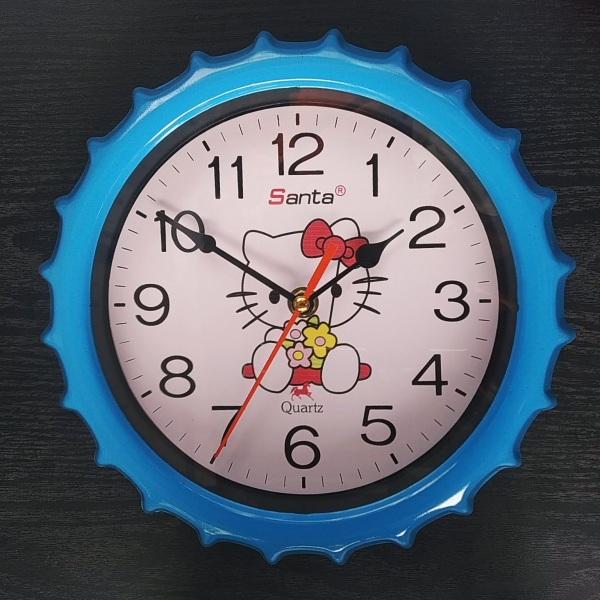 Nơi bán Đồng hồ treo tường tròn nhỏ 24cm - Kitty màu xanh - Kim Giật và Kim Trôi
