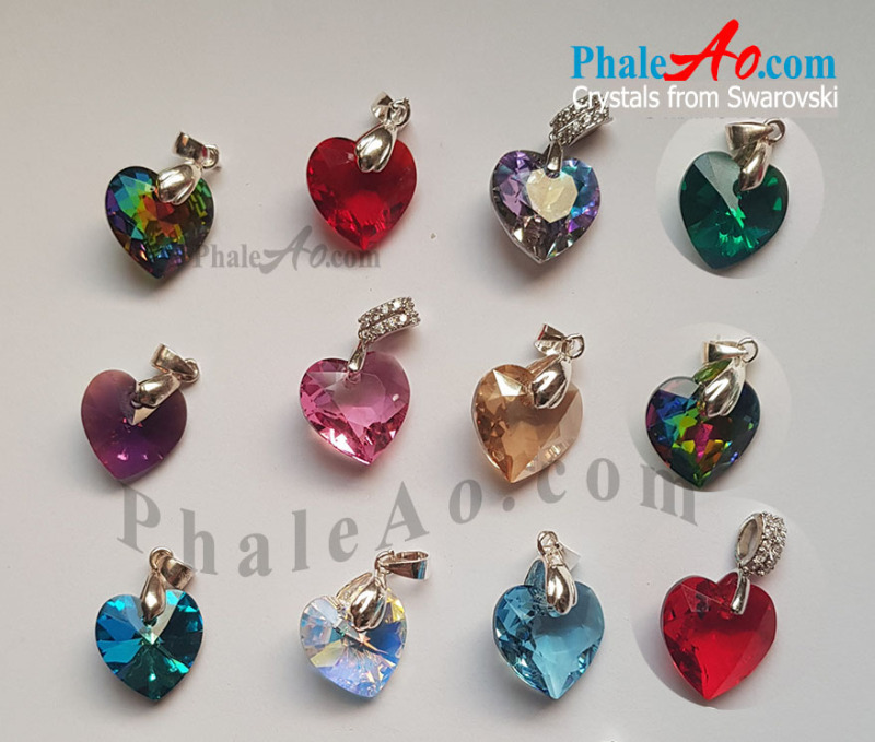 Mặt dây trái tim pha lê Swarovski nhiều màu – Swarovski heart cut pendant 6432, new 2020 love all