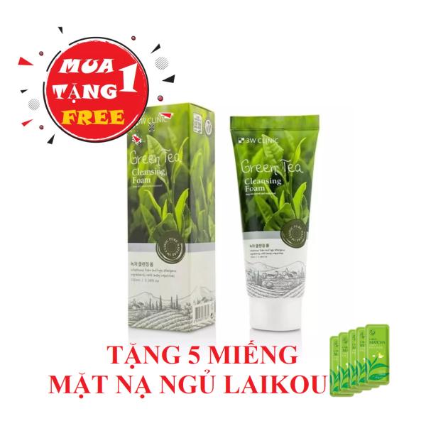 [MUA 1 TẶNG 5] Sữa Rửa Mặt Chiết Xuất Trà Xanh 3W Clinic Green Tea Foam Cleansing 100ml - Tặng Kèm 5 Miếng mặt nạ ngủ trà xanh laikou cao cấp