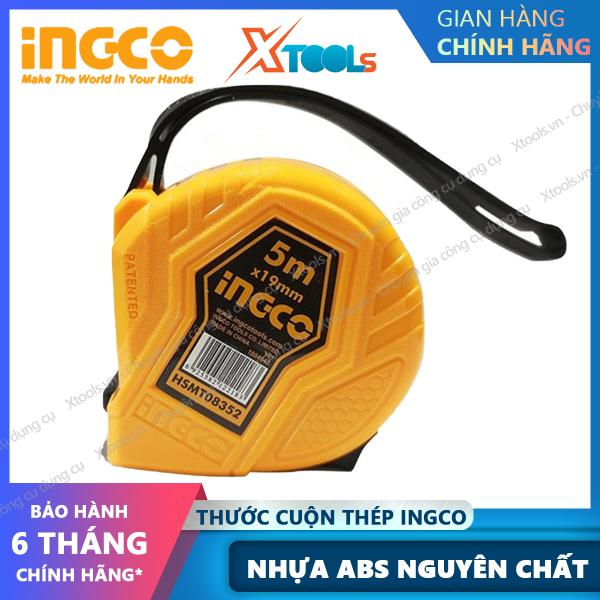 Thước cuộn thép nền vàng INGCO HSMT08352 19mmX5m, thước dây cuộn tự động 5m chất liệu ABS cứng chắc chống va đập [XTOOLs][XSAFE]