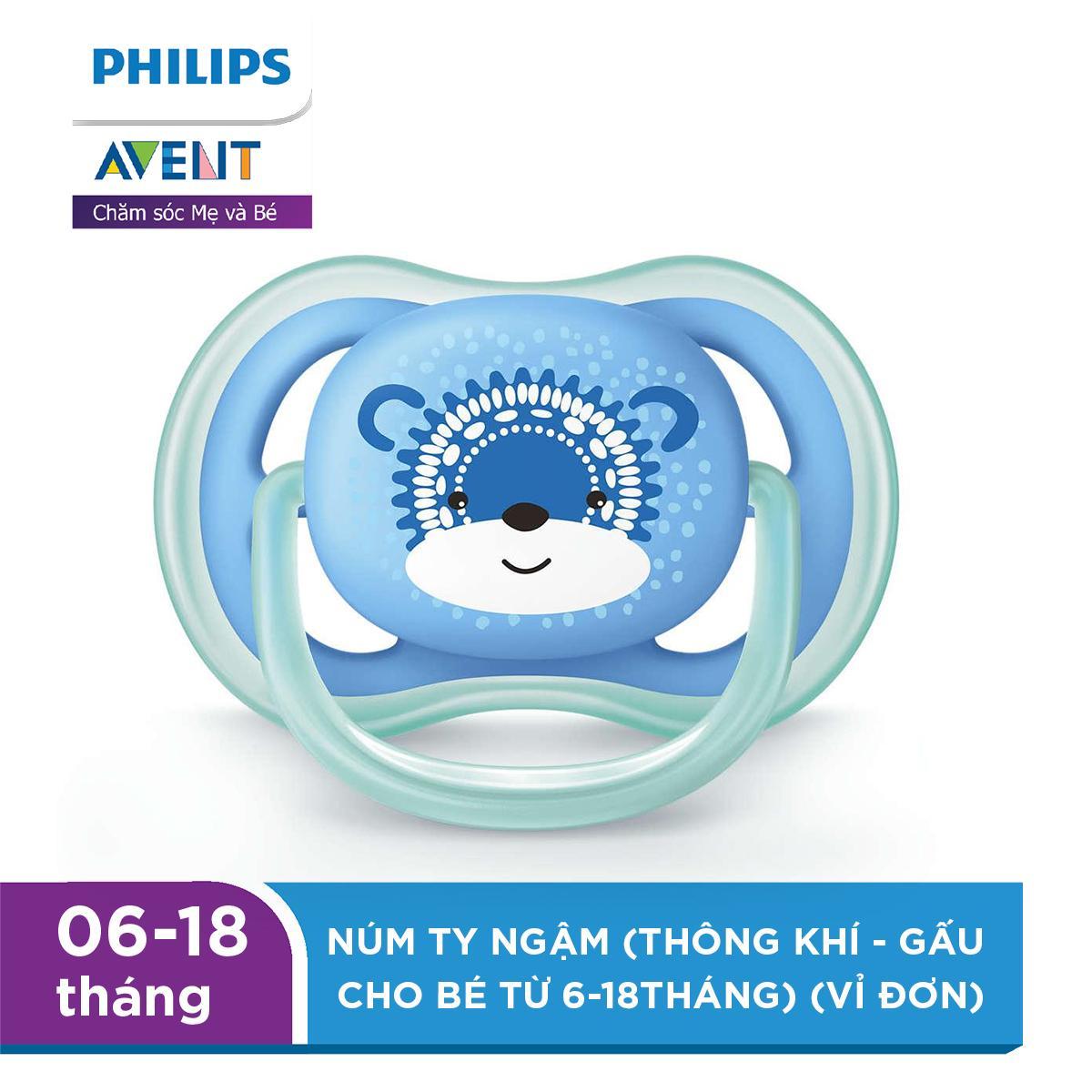 Núm ty ngậm Philips Avent (thông khí - Gấu cho bé từ 6-18Tháng) (vỉ đơn) SCF542/12