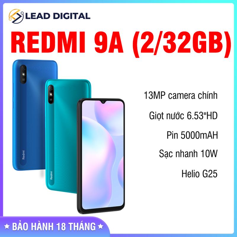 SĂN VOUCHER - [CHÍNH HÃNG] Điện thoại Xiaomi Redmi 9A 2GB/32GB - FULL TIẾNG VIỆT - Chip MediaTek Helio G25 8 nhân (12 nm), Màn hình 6.53 HD+, Camera 13MP, Pin 5000 mAh, Cảm biến nhận diện khuôn mặt - BH 18 tháng