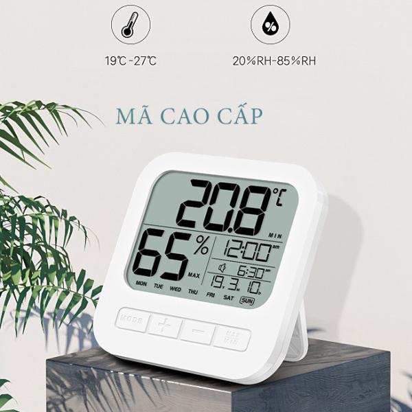 Nơi bán Nhiệt ẩm kế MN020, Nhiệt kế điện tử đo nhiệt độ phòng,độ ẩm không khí có đồng hồ, báo thức và lịch chính xác 100%