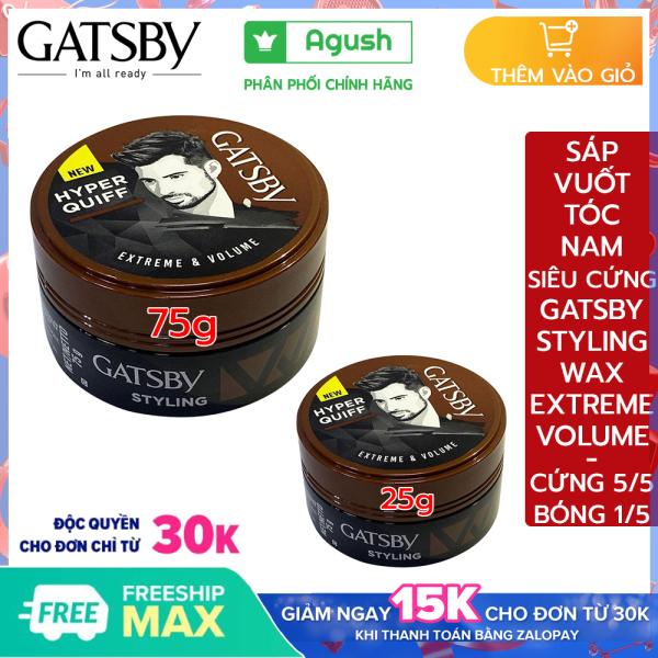 Sáp vuốt tóc nam mùi thơm chính hãng Gatsby Styling Wax Extreme & Volume giá rẻ siêu cứng hộp keo sáp lọ to 75g, 25g vuốt tóc khô giữ nếp tạo kiểu phồng Hyper Quiff bôi tạo nếp tóc không bóng cho nam gốc nước không bết thơm trái cây giá rẻ