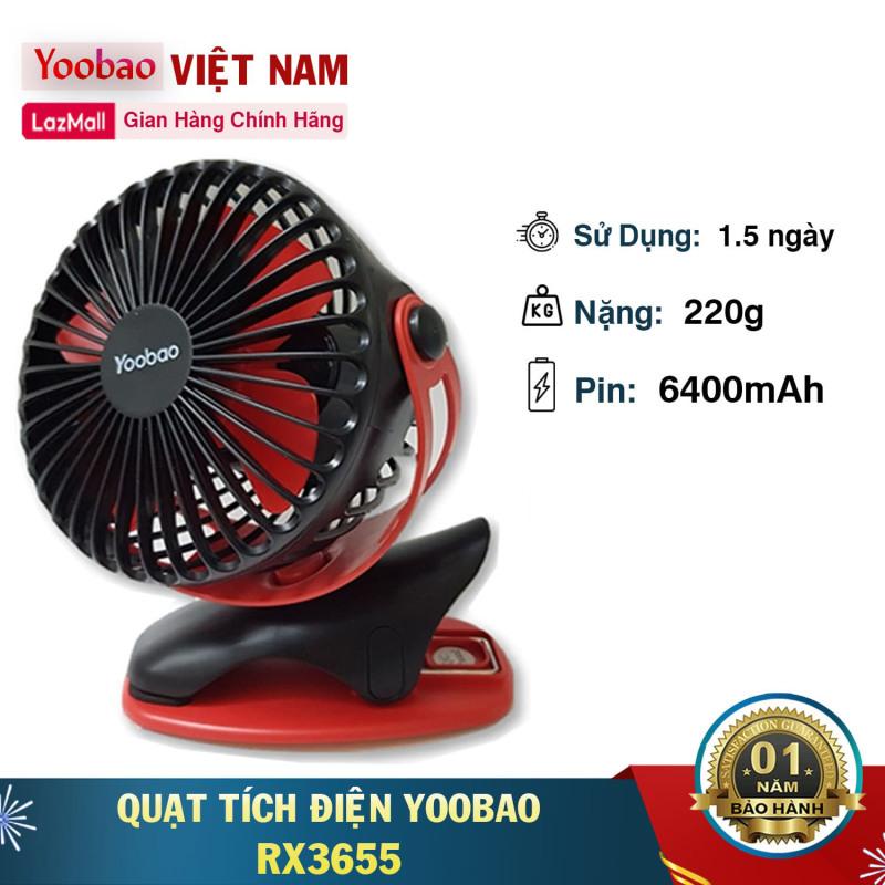 Quạt kẹp mini Tích điện Yoobao Y- F04 pin siêu bền dùng thoải mái 2 ngày liền với 4 Cấp  ( Pin siêu khủng 6400mAh cho thời gian dùng từ 15-32 giờ)
