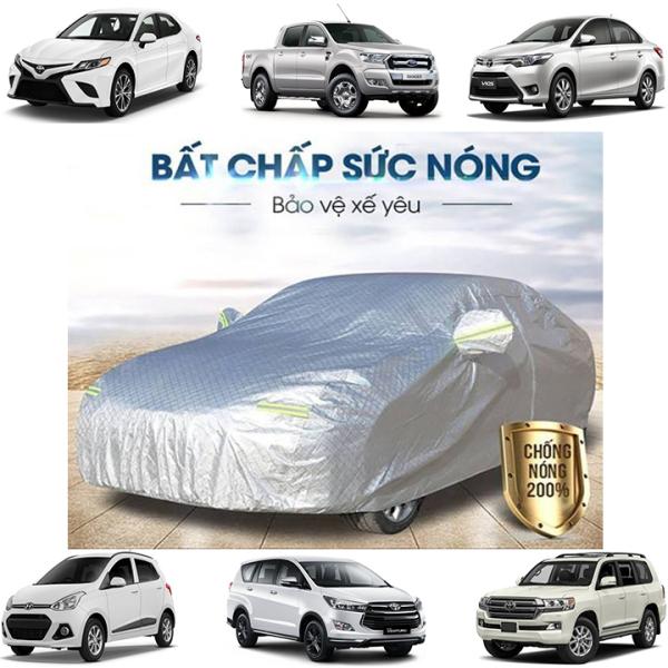 Bạt Phủ xe Ô Tô, Bạt phủ xe hơi - áo trùm che phủ xe hơi nhôm bạc 4 chỗ đến 7 chỗ, chống nóng mưa xước chống nước