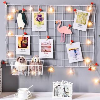 Khung treo tranh ảnh trang trí sinh nhật, decor phòng khách, Tấm lưới thép trang trí nhà cửa - Tặng kèm 2 đính 4 chân thumbnail