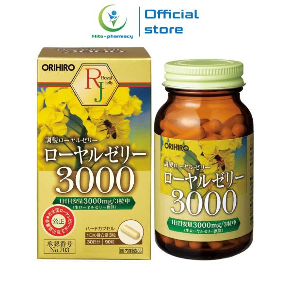 Viên uống đẹp da sữa ong chúa 3000mg Royal Jelly Orihiro Nhật Bản giảm nám sạm da, chống lão hóa - Chai 90 viên giá rẻ