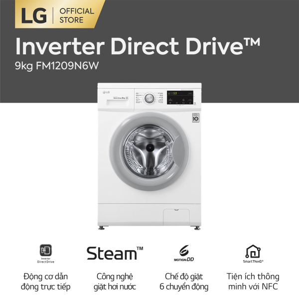 Bảng giá Máy giặt lồng ngang LG Inverter Direct Drive™ FM1209N6W 9kg (Trắng) - Hãng phân phối chính thức Điện máy Pico