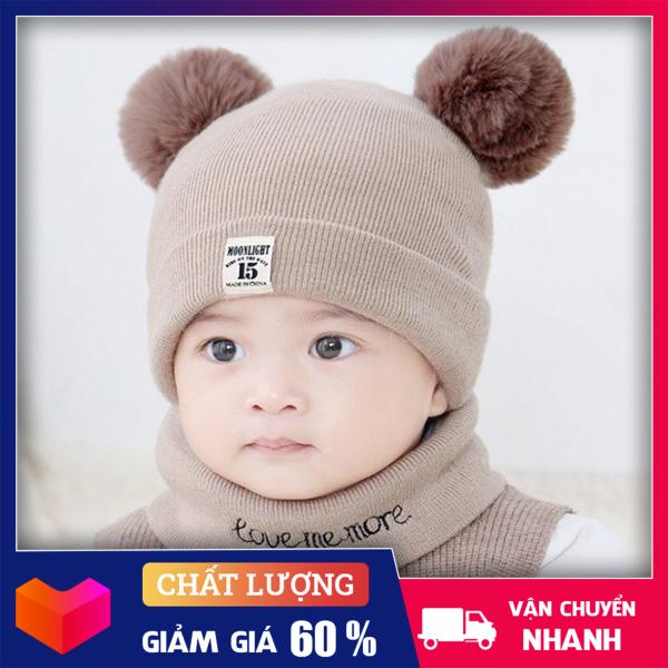 Giá bán MŨ LEN KÈM KHĂN CHO BÉ YÊU- Combo Bộ mũ len và khăn ống quàng cổ cho bé yêu kiểu dáng Hàn Quốc