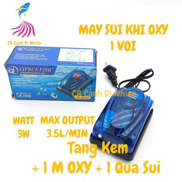 COMPO Máy sủi khí oxy 1 vòi VIPSUN 248A 3W (Kèm 1M OXY+1 ĐÁ SỦI) cho hồ cá