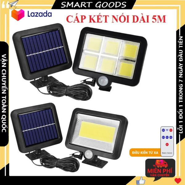 Đèn led năng lượng mặt trời 120 led - 100 led chống nước chuẩn IP6 - công nghệ cảm biến chuyển động tự động ngắt bật có điều kiển từ xa
