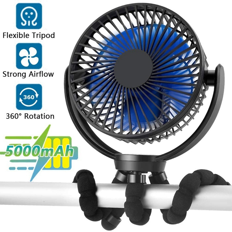 Rechargeable Battery Operated Flexible Tripod Clip Fan, Super Quiet, 3 Speed, USB Fast Charging, for Golf Cart Stroller Singapore