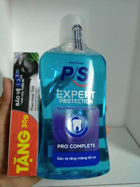 Nước súc miệng P/S Expert Pro Complete chai 500ml Tặng Kem Đánh Răng P/S 30g giá rẻ