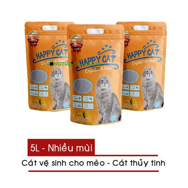 Cát vệ sinh cho mèo - Cát thủy tinh HAPPY CAT 5L nhiều mùi - [Nông Trại Thú Cưng]