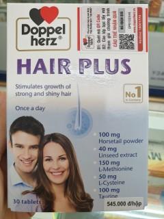 Thực Phẩm chăm sóc tóc Hair Plus của DOPPEL HERZ. Sản phẩm bổ sung vitamin và khoáng chất hỗ trợ giảm rụng tóc, giúp tóc chắc khỏe, bóng đẹp thumbnail