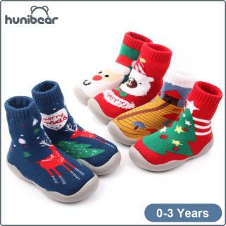 Giày Đế Cao Su Cho Bé Trai Và Bé Gái, Vớ Đi Trên Sàn, Họa Tiết Hoạt Hình, Giáng Sinh, Mùa Đông, 0-3 Tuổi