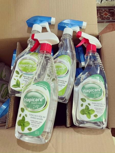 Dung dịch sát khuẩn Hapicare 500ml hương bạc hà mát lạnh giúp da giử ẩm không khô rát sát khuẩn khử mùi cho tay, kính bảo hộ, khẩu trang một cách hiệu quả đến 99.9% sản phẩm chính hãng