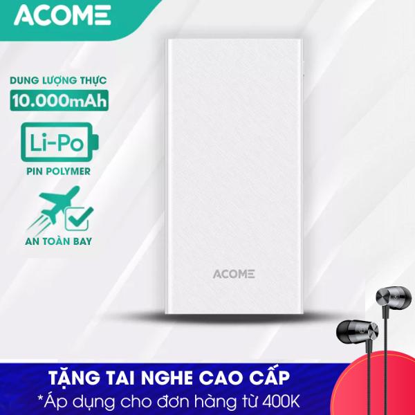 Giá [ Bảo Hành 12 Tháng 1 Đổi 1]  ACOME AP103 Pin Sạc Dự phòng 10000mAh Cổng Sạc 10.5W  - Hàng Chính Hãng